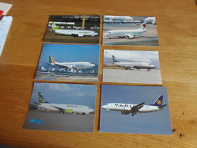 6 x Colour postcards of airlines that flew/fly B737-300s