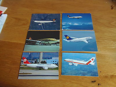 6 x Colour postcards of airlines that flew/fly Airbus A310 Aircraft