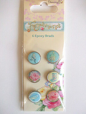 DOVECRAFT FORGET ME NOT - 6 EPOXY BRADS rose birds wellies