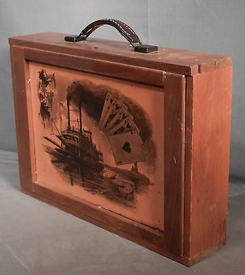Custom Crafted Leather walnut Carrying Case cards Riverboat Poker Chips Gambling