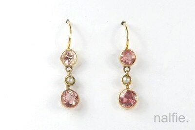 Lovely Little Antique English 9K Gold Pink Tourmaline & Seed Pearl Drop Earrings