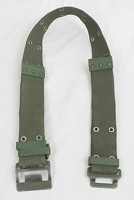 French Army Pistol Belt - Military Surplus Webbing Olive Green D-Ring Canvas A87