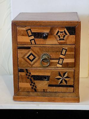 Antique Marquetry wood box, miniature inlaid chest of drawers,
