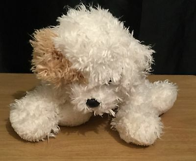 Ty Classics 9 Inch White & Tan Tandy Puppy Dog Plush / Soft Toy