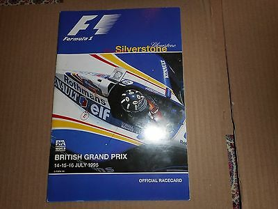 F1 Formula 1 1995 Silverstone British Grand Prix Official Racecard Motor Racing