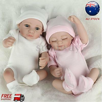 2pcs Handmade Lifelike Twins Girl Boy Baby Dolls Full Vinyl Silicone Reborn Doll