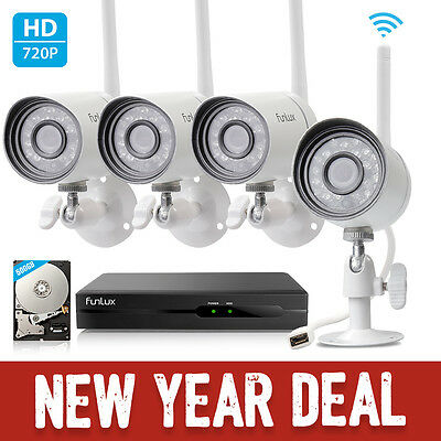 Funlux® 4CH NVR 1280*720p IP Outdoor Wireless Home Security Camera System 500GB