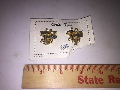 Vintage SQUARE DANCING Shirt Collar Tips Gold Tone
