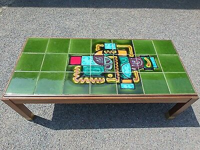 1960s vintage solid teak midcentury green abstract tile top retro coffee table