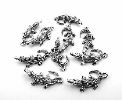 Set of Ten (10) Silver Tone Pewter Alligator Charms  - 0063