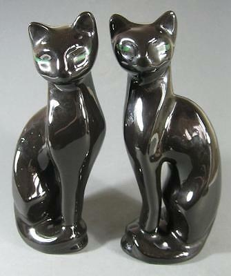 Retro/vintage 70s ceramic black cat figurine/statue x 2 (pair)-made in Taiwan
