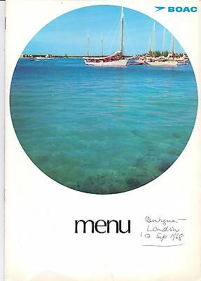 8 Page BOAC Menu Georgetown-London dated 1968 on the front in pen          (P1)