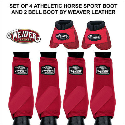 Red Medium Weaver Prodigy Athletic Horse Leg Front Rear Boots 4 Pack 2 Bell
