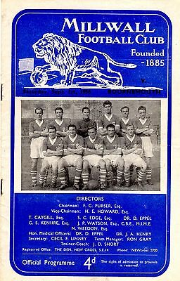 Millwall v Bournemouth League Division 3 South 1st September 1956