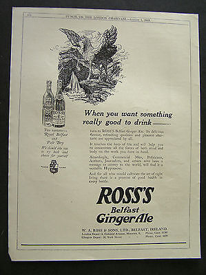 1920s advert for ROSS'S Belfast Ginger Ale Pegasus soft drink advertisin a1 1923