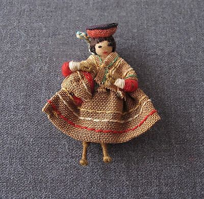 Vintage 1940's Ethnic Hand Crafted Miniature Coya Woman Doll Pendant Bolivia