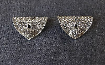 2 Antique 1930's Art Deco Clear Rhinestones Silvered Metal Brooch Pin Clips