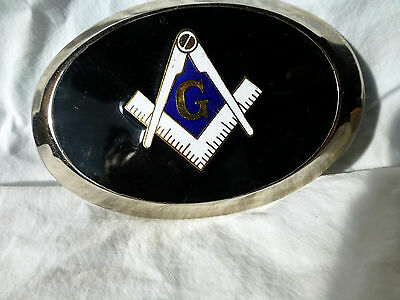 Vintage Masonic Chrome Enamel BELT BUCKLE Freemason Shriners Square Compass