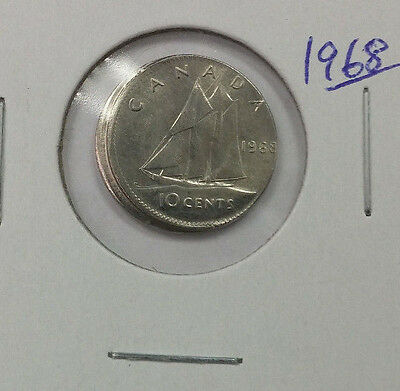 Major Off Center Strike Error 1968 Canada Dime, 10 Cents