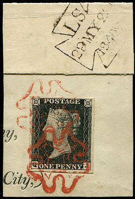 1d Pl.1a  'QJ' USED ON 'MAY.29th.1840', tied by two superb 'Dark-Red' MX's to s