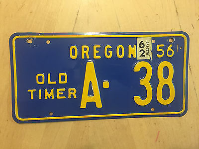 """1956 Oregon Old Timer Antique Auto License Plate """" A 38"""" Or 56 First Issue Low #"""