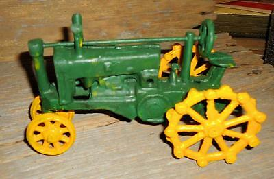 Lot of 2 Vintage Cast Iron Toy John Deere Tractor 8 by 4 1/2 inches