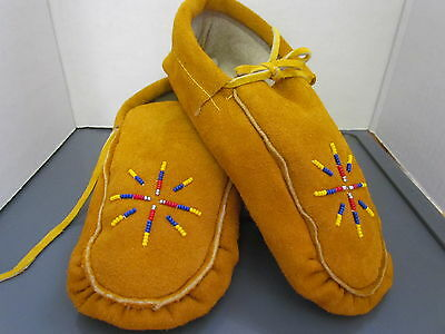Beautiful Native American Beaded Moccasins 9 Inches Rainbow Sunburst Design