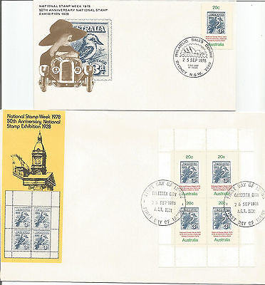 Australia Fdc-1978 National Stamp Exhibition + Miniature Sheet- 2 Covers