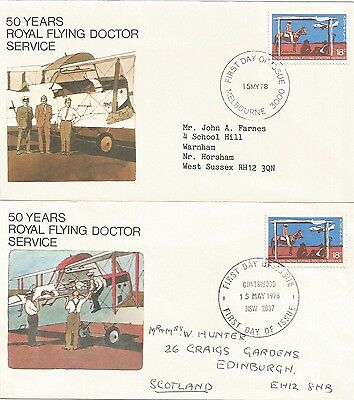 AUSTRALIA FDC-1978 50th ANNIVERSARY OF ROYAL FLYING DOCTOR SERVICE-2 COVERS