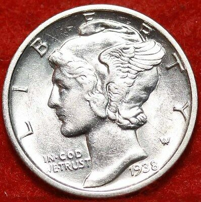 Uncirculated 1938-D Denver Mint Silver Mercury Dime Free Shipping