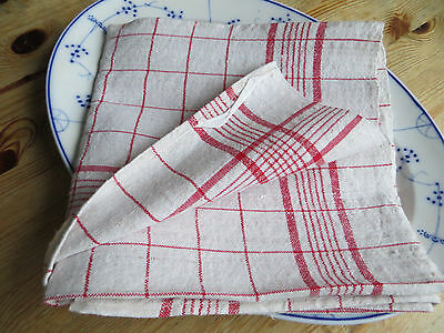 Unused German Thickly   Handwoven  Linen Towel Runner Red Stripes Dish Cloth