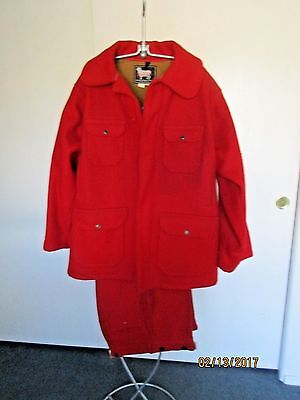 WOOLRICH VINTAGE HUNTING SUIT WOOL OUTFIT RED COAT JACKET & PANTS 1960s MENS 44