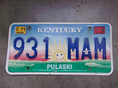 2011 Kentucky License Plate Sign Colorfull Sun Friendly LOOK