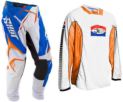 SHOT FLEXOR EDGE BLUE ORANGE MOTOCROSS KIT PANT with JT WHITE ORANGE JERSEY