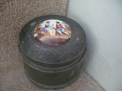 A Vintage Swiss Lador Metal Musical Powder Box With A Ceramic Centre Painting