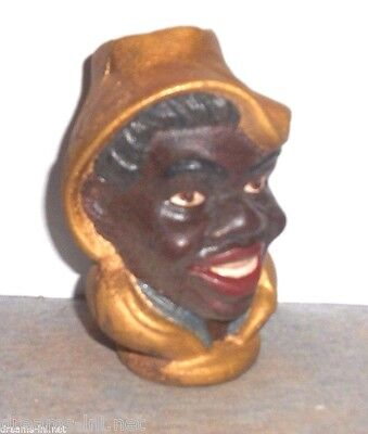 Black Boy Bank Red Lips White Teeth w Hoodie Covering Cast Iron Dime Savings