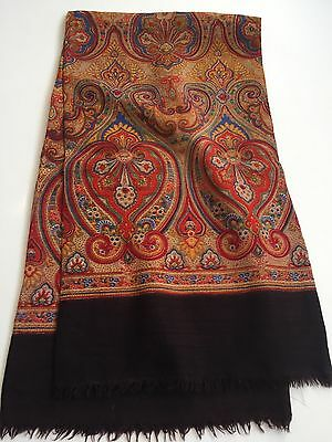 Mens VINTAGE WOOL SCARF PAISLEY Patterned Retro Hipster 70's Mod Dandy