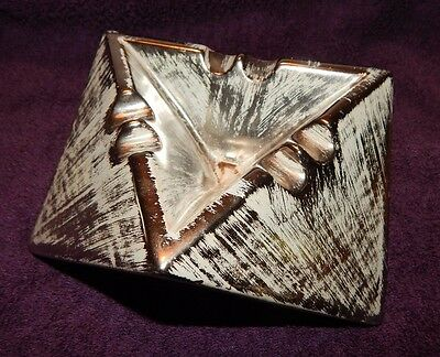 "STANGL ""TRIANGLES"" VINTAGE MID CENTURY MODERN ART POTTERY Charcoal Silver Exc"
