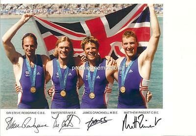 Steve Redgrave Matthew Pinsent James Cracknell Tim Foster Signed 2000 Olympics