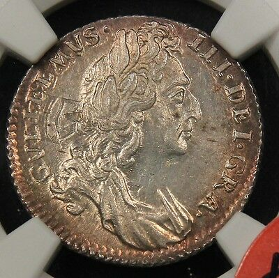 1696 England 6D Sixpence MS65 NGC. ESC-1533. William III. Solo finest pop 1/0