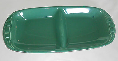 Longaberger Pottery Woven Traditions Divided Platter/Tray~Hunter Green~