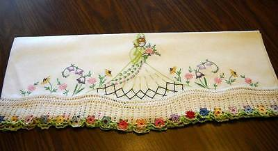 Multicolor Crocheted Set of Southern Belle Crinoline Lady Pillowcases Embroidery