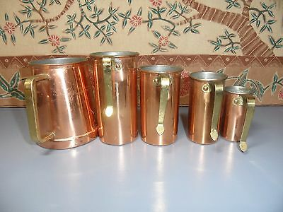 Set Of Tagus Copper Measuring Cups Brass Handles