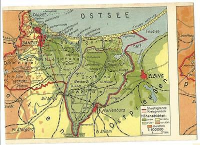 "Original German postcard 1933-45 ""Free State Danzig"" Poland map-card, faulty; S6"