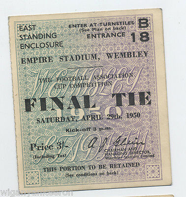 ORIGINAL 1950 F.A.Cup Final Ticket  LIVERPOOL v ARSENAL Price  3/-