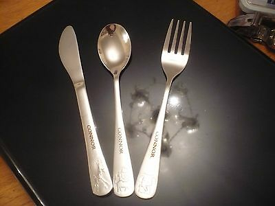 A Wonderful Childs Stainless Steel Personalised Knife Spoon And Fork Set Connor