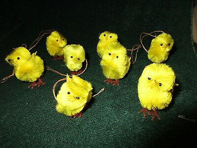8 Vintage Chenille Easter Chicks Figures Holiday Decorations