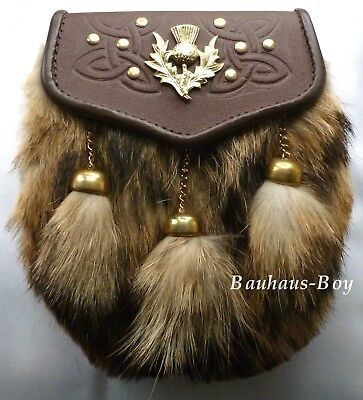 Kilt Sporran Scottish Thistle Crest Fox Fur Brown Leather Brass Finish For Kilts