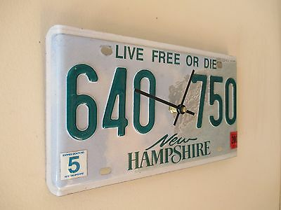Repurposed New Hampshire License Plate Clock - Wall Clock - White Mountains