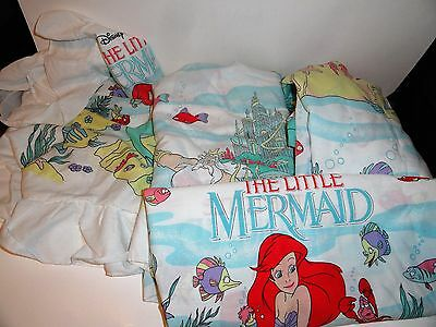 Disney's Little Mermaid twin sheet set vintage + sham flat fitted & pillowcase